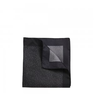Boss Black Silk Pocket Square in Black