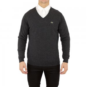 Lacoste Knitwear V Neck in Dark Grey