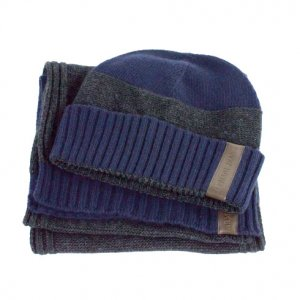 Armani Jeans Hat and Scarf Set in Navy