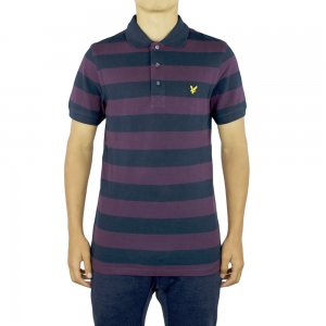 Lyle & Scott Vintage Polo Top Block in Dark Purple