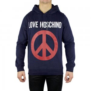 Moschino Sweatshirt Love Hooded Peace in Navy