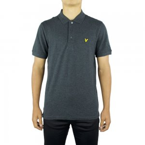 Lyle & Scott Vintage Polo Top SS Plain in Charcoal
