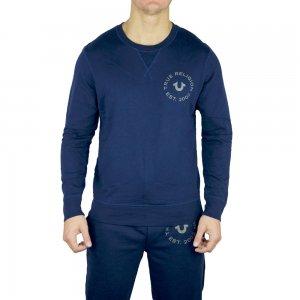 True Religion Sweatshirt Long Sleeved Crew Neck in Navy
