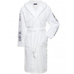 Emporio Armani Underwear Hooded Bathrobe in White
