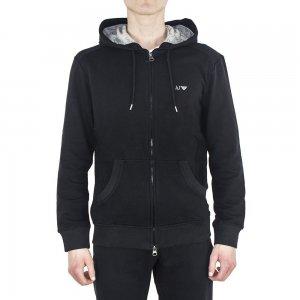 Armani Jeans Sweatshirt Logo Hooded in Black