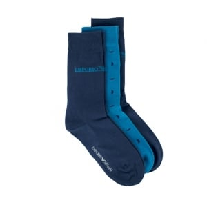 Emporio Armani Underwear Socks 3 Pack in Turquoise