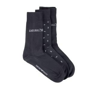 Emporio Armani Underwear Socks 3 Pack Eagle Logo in Dark Grey