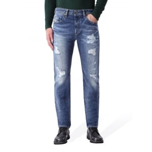 Diesel Jeans Buster Rip Regular Leg in Mid Wash