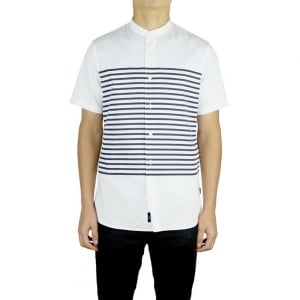 Armani Jeans Grandad Oxford Short Sleeved Shirt in White