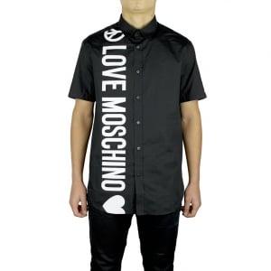 Love Moschino Love Down Logo Short Sleeved Shirt in Black
