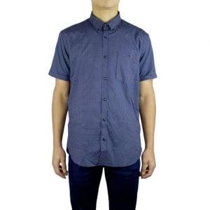 Barbour Cross Print Short Sleeved Shirt in Navy