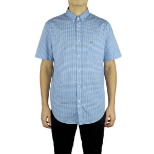 Lacoste Shirts Short Sleeved Check Shirt in Light Blue