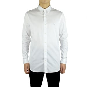 Lacoste Slim Fit Logo Shirt in White