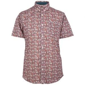 Pretty Green Leaside Short Sleeved Shirt in Dark Pink