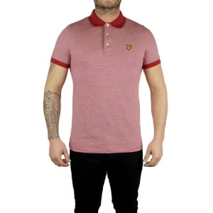 Lyle & Scott Vintage Fine Stripe Polo Top in Red