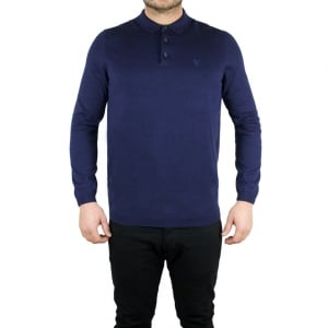 Lyle & Scott Vintage Knitted Polo in Navy