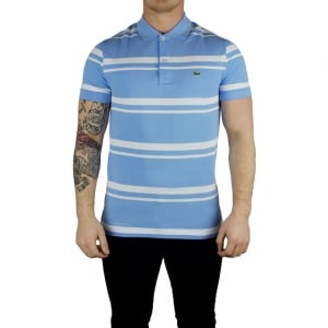 Lacoste Lined Logo Polo Shirt in Baby Blue