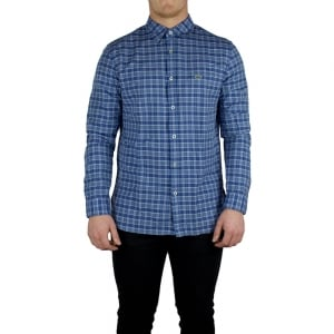 Lacoste Check Short Sleeved Shirt in Dark Blue