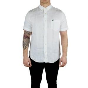Lacoste Short Sleeved Linen Shirt in White