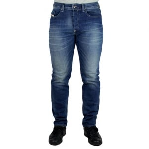 Diesel Buster Short Leg Jeans in Mid Wash
