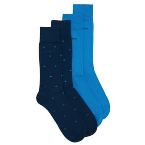 Boss Black Twopack RS Design Socks in Dark Blue