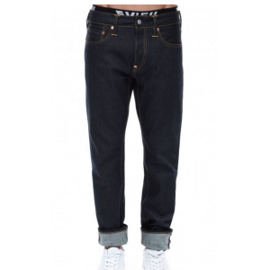 Evisu Slim Fit Seagull Selvedge Denim Jeans in Dark Wash