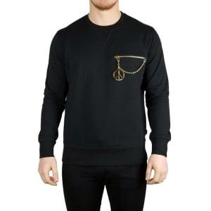 Love Moschino Zip Peace Sweatshirt in Black