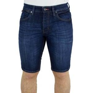 Luke Roper Beamer Regular Leg Denim Shorts in Dark Wash