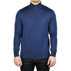 Armani Jeans Neck Zip Knitwear in Navy