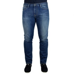 Armani Jeans J06 Slim Fit Regular Leg Jeans in Mid Wash