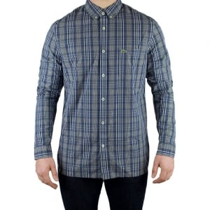 Lacoste Check Woven Shirt in Dark Blue