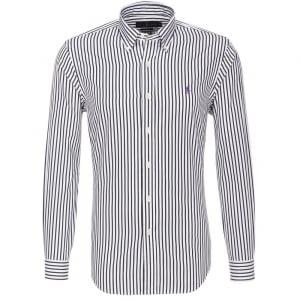 Ralph Lauren Polo Long Sleeved Striped Shirt in White