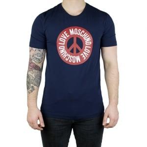 Moschino Round Love T-Shirt in Navy
