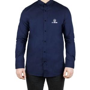 Moschino Silver Love Logo Shirt in Navy