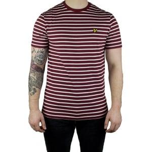 Lyle & Scott Vintage Breton Stripe T-Shirt in Claret Jug