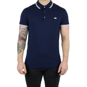 Lacoste White Trim Polo Shirt in Navy