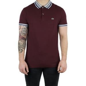 Lacoste Grey Trim Polo Shirt in Maroon