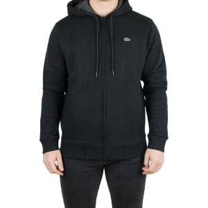 Lacoste Zip Up Logo Sweatshirt in Black