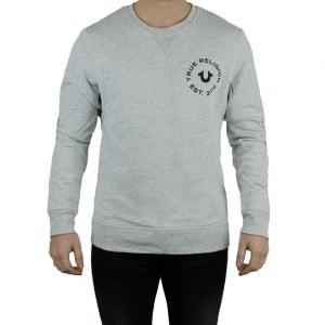 True Religion Long Sleeved Crew Neck Sweatshirt in Grey