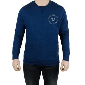 True Religion Long Sleeved Crew Neck Sweatshirt in Navy