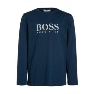 Boss Kids Long Sleeve T-Shirt in Navy