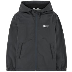 Boss Kids Windbreaker Coat in Dark Grey