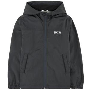 Boss Kids Windbreaker Coat in Dark Grey