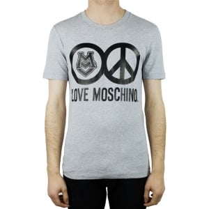 Moschino Crest Peace Logo T-Shirt in Grey