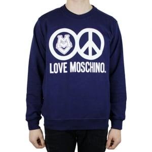 Moschino School Peace Logo Sweatshirt in Navy
