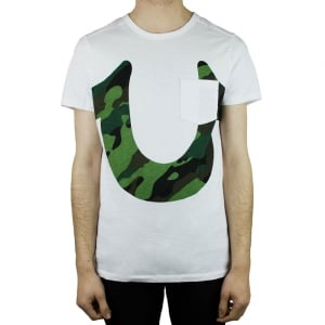 True Religion Camo Horseshoe T-Shirt in White