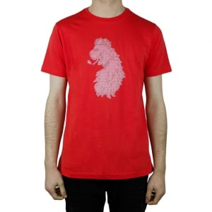 Luke Roper Cross Stitch Lion T-Shirt in Red