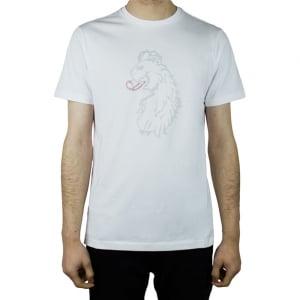 Luke Roper Cross Stitch Lion T-Shirt in White