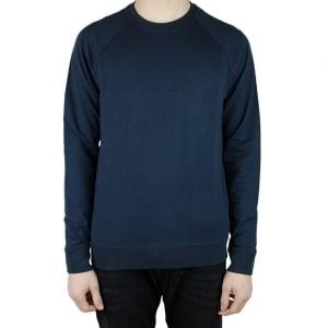 Armani Jeans Embossed Logo Sweatshirt in Navy