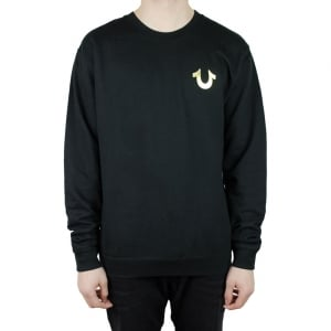 True Religion Crew Gold Sweatshirt in Black